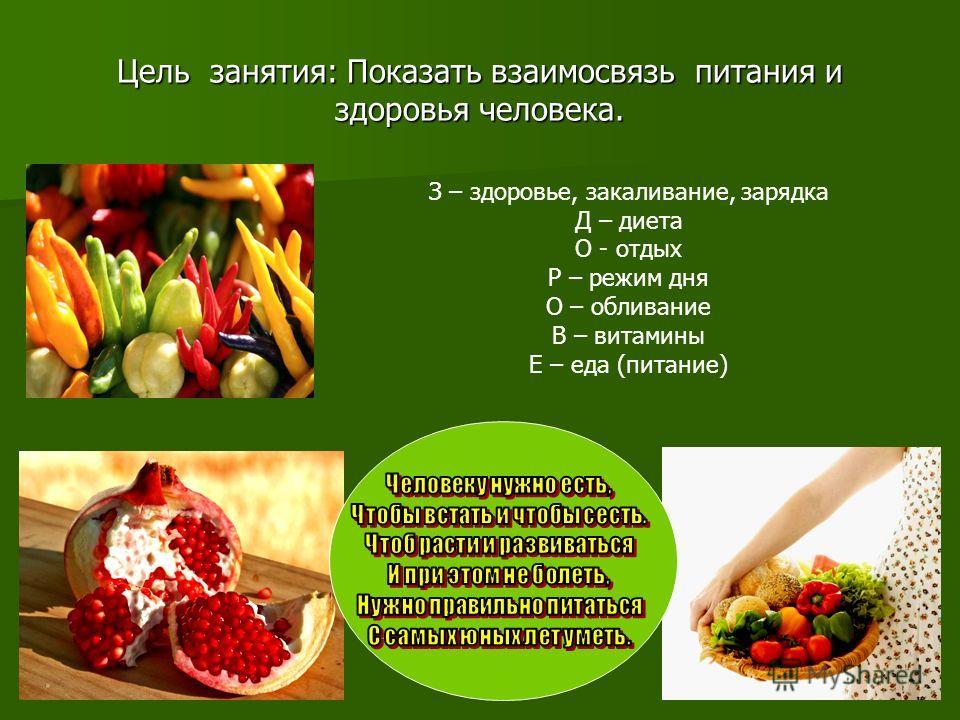 Цель занятия: Показать взаимосвязь питания и здоровья человека. З – здоровье, закаливание, зарядка Д – диета О - отдых Р – режим дня О – обливание В – витамины Е – еда (питание)