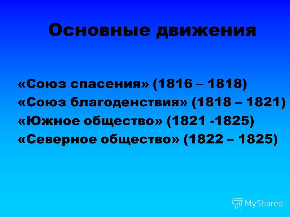 Основные движения «Союз спасения» (1816 – 1818) «Союз благоденствия» (1818 – 1821) «Южное общество» (1821 -1825) «Северное общество» (1822 – 1825)