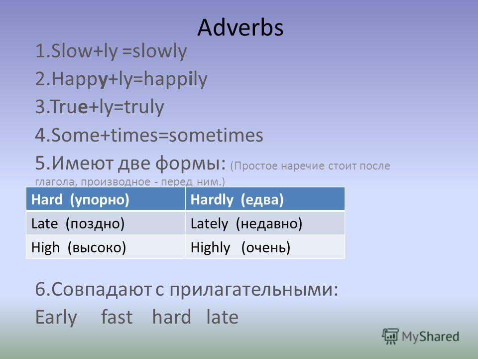 Adverbs 1.Slow+ly =slowly 2.Happy+ly=happily 3.True+ly=truly 4.Some+times=sometimes 5.Имеют две формы: (Простое наречие стоит после глагола, производное - перед ним.) 6.Совпадают с прилагательными: Early fast hard late Hard (упорно)Hardly (едва) Late