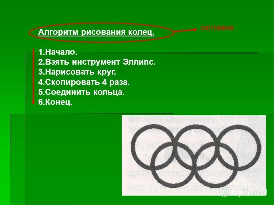 Алгоритм рисования колец. 1.Начало. 2.Взять инструмент Эллипс. 3.Нарисовать круг. 4.Скопировать 4 раза. 5.Соединить кольца. 6.Конец. заглавие