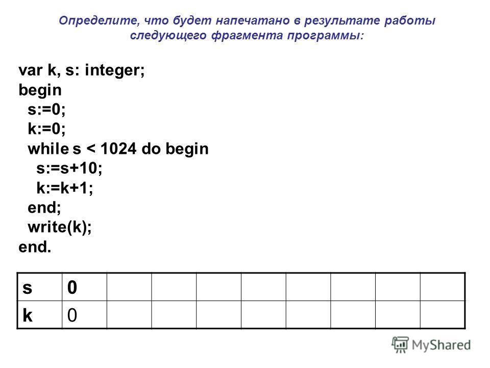 var k, s: integer; begin s:=0; k:=0; while s < 1024 do begin s:=s+10; k:=k+1; end; write(k); end. s0 k0 Определите, что будет напечатано в результате работы следующего фрагмента программы: