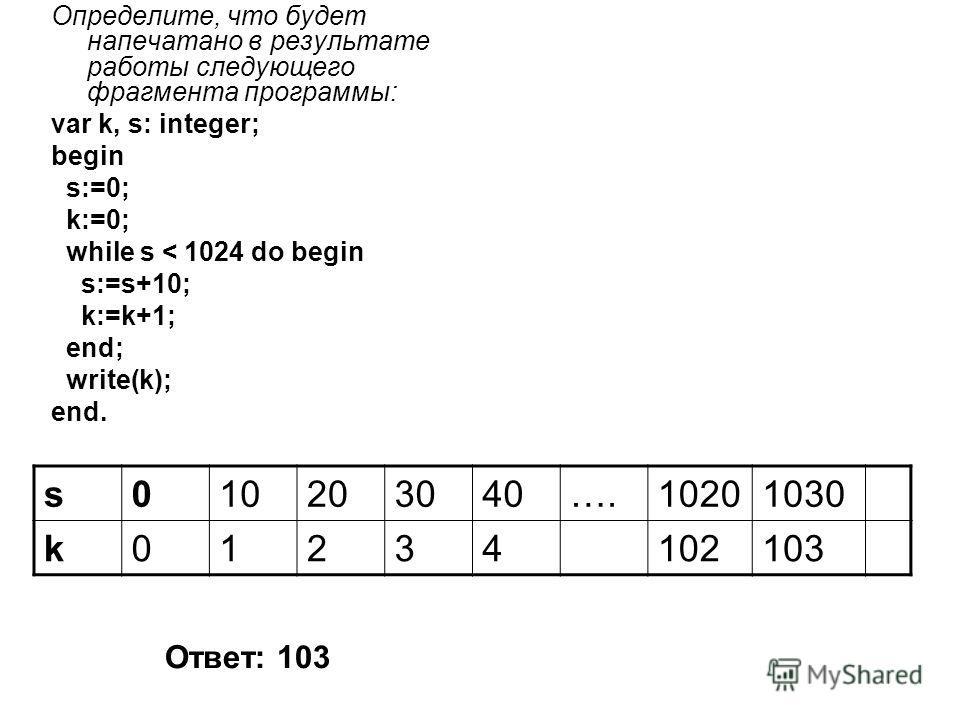 Определите, что будет напечатано в результате работы следующего фрагмента программы: var k, s: integer; begin s:=0; k:=0; while s < 1024 do begin s:=s+10; k:=k+1; end; write(k); end. s010203040….10201030 k01234102103 Ответ: 103