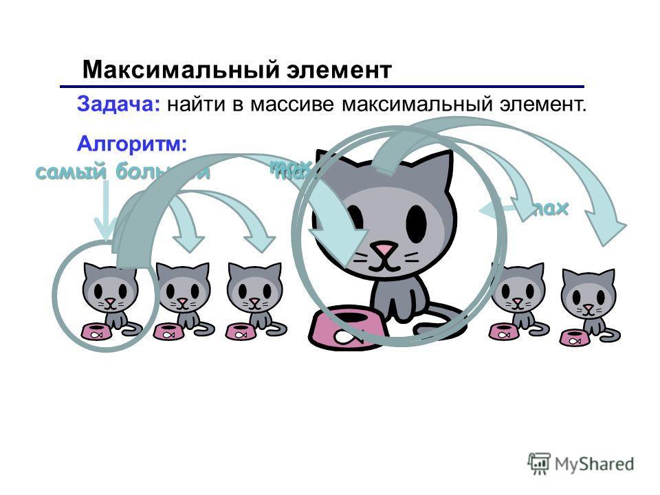 Максимальный элемент Задача: найти в массиве максимальный элемент. Алгоритм: самый большой max max max