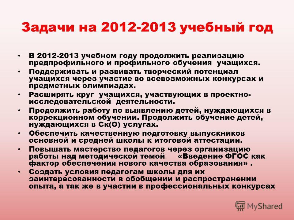 Задачи на 2012-2013 учебный год В 2012-2013 учебном году продолжить реализацию предпрофильного и профильного обучения учащихся. Поддерживать и развивать творческий потенциал учащихся через участие во всевозможных конкурсах и предметных олимпиадах. Ра