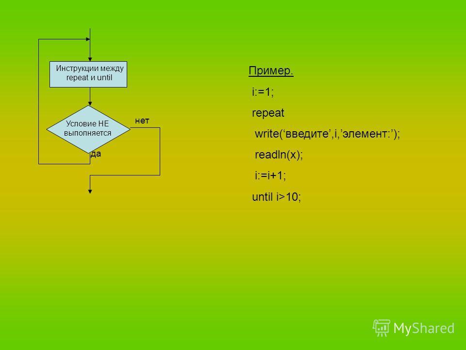Условие НЕ выполняется Инструкции между repeat и until да нет Пример. i:=1; repeat write(введите,i,элемент:); readln(x); i:=i+1; until i>10;