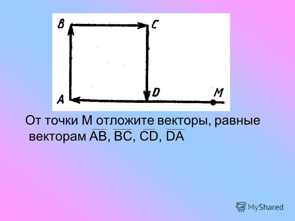 От точки М отложите векторы, равные векторам АВ, ВС, СD, DА