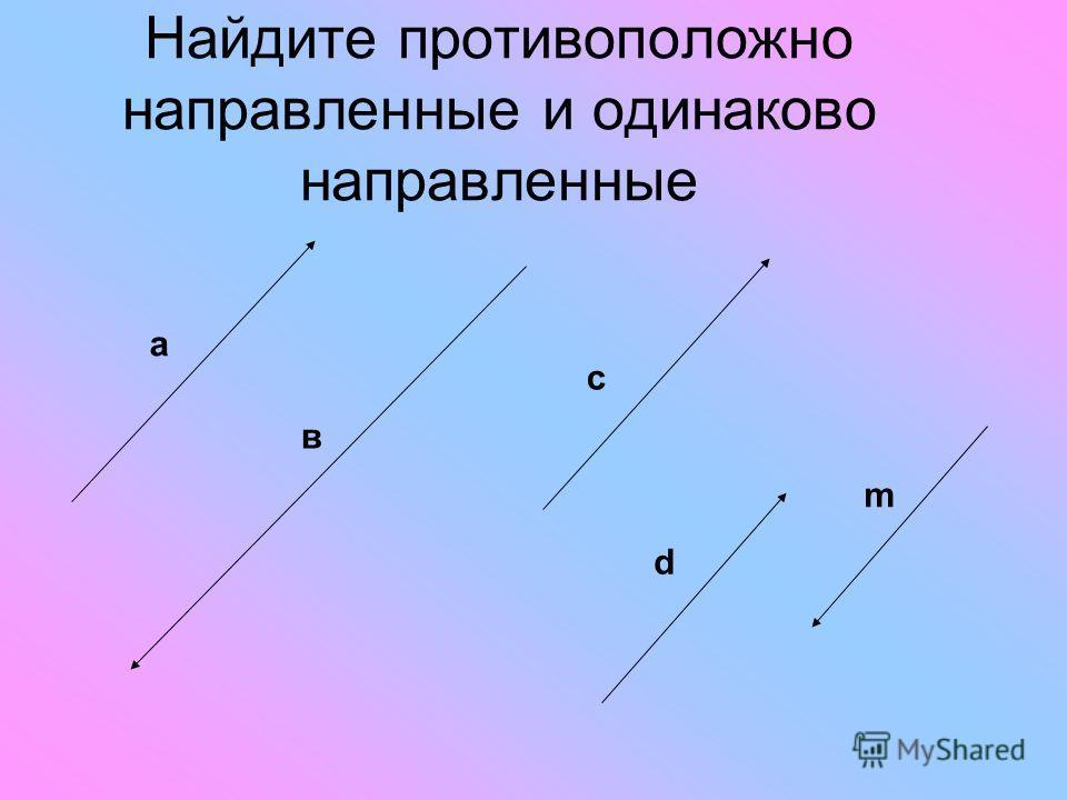 Найдите противоположно направленные и одинаково направленные с в а m d