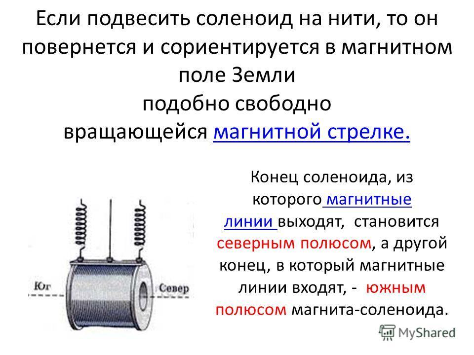 Если подвесить соленоид на нити, то он повернется и сориентируется в магнитном поле Земли подобно свободно вращающейся магнитной стрелке.магнитной стрелке. Конец соленоида, из которого магнитные линии выходят, становится северным полюсом, а другой ко