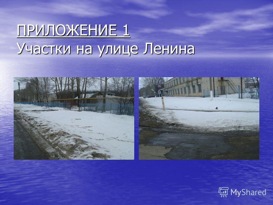 ПРИЛОЖЕНИЕ 1 Участки на улице Ленина