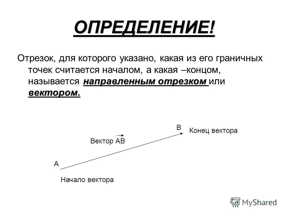 ОПРЕДЕЛЕНИЕ! направленным отрезком вектором. Отрезок, для которого указано, какая из его граничных точек считается началом, а какая –концом, называется направленным отрезком или вектором. В А Начало вектора Конец вектора Вектор АВ