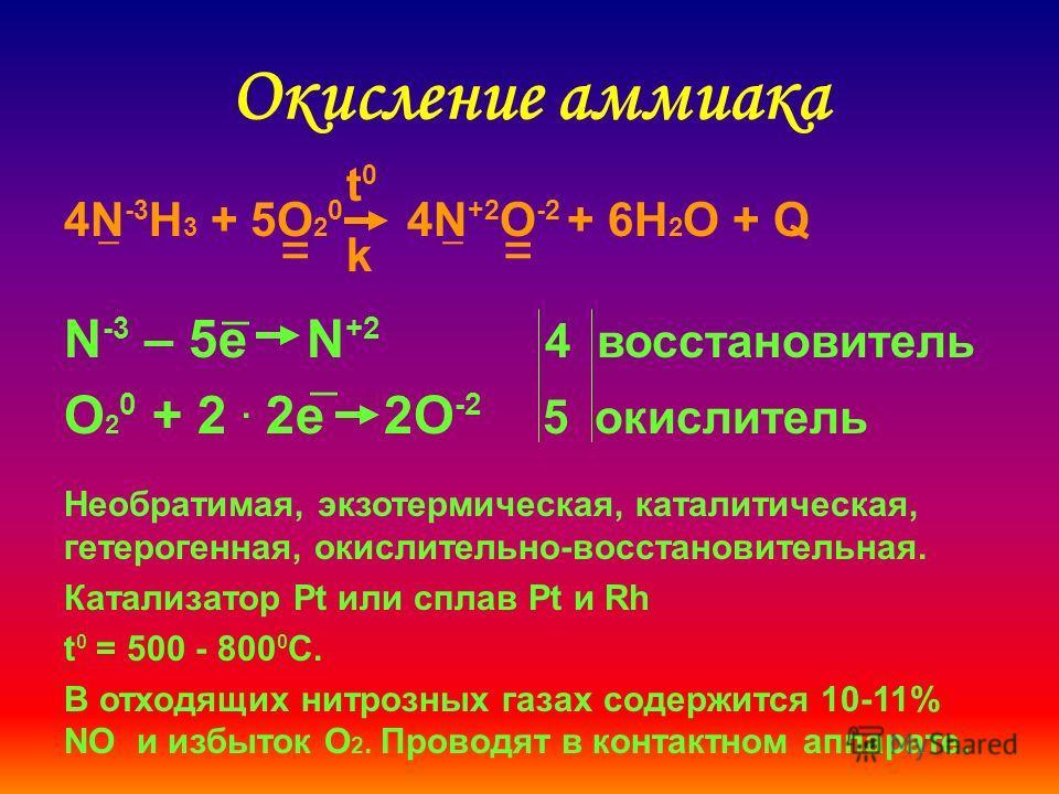 Окисление аммиака 4N -3 H 3 + 5O 2 0 4N +2 O -2 + 6H 2 O + Q _ = N -3 – 5e N +2 4 восстановитель O 2 0 + 2. 2e 2O -2 5 окислитель _ _ Необратимая, экзотермическая, каталитическая, гетерогенная, окислительно-восстановительная. Катализатор Pt или сплав