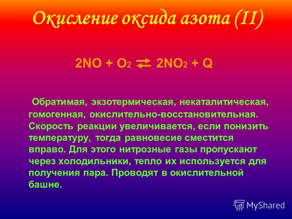 Окисление оксида азота (II) 2NO + O 2 2NO 2 + Q Обратимая, экзотермическая, некаталитическая, гомогенная, окислительно-восстановительная. Скорость реакции увеличивается, если понизить температуру, тогда равновесие сместится вправо. Для этого нитрозны