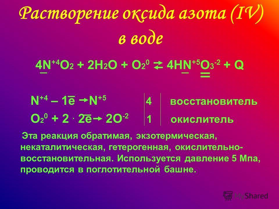 Растворение оксида азота (IV) в воде 4N +4 O 2 + 2H 2 O + O 2 0 4HN +5 O 3 -2 + Q N +4 – 1e N +5 4 восстановитель O 2 0 + 2. 2e 2O -2 1 окислитель Эта реакция обратимая, экзотермическая, некаталитическая, гетерогенная, окислительно- восстановительная