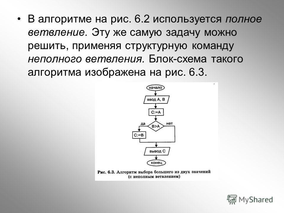 В алгоритме на рис. 6.2 используется полное ветвление. Эту же самую задачу можно решить, применяя структурную команду неполного ветвления. Блок-схема такого алгоритма изображена на рис. 6.3.