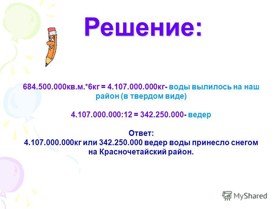 Решение: Решение: 684.500.000кв.м.*6кг = 4.107.000.000кг- воды вылилось на наш район (в твердом виде) 4.107.000.000:12 = 342.250.000- ведер Ответ: 4.107.000.000кг или 342.250.000 ведер воды принесло снегом на Красночетайский район.