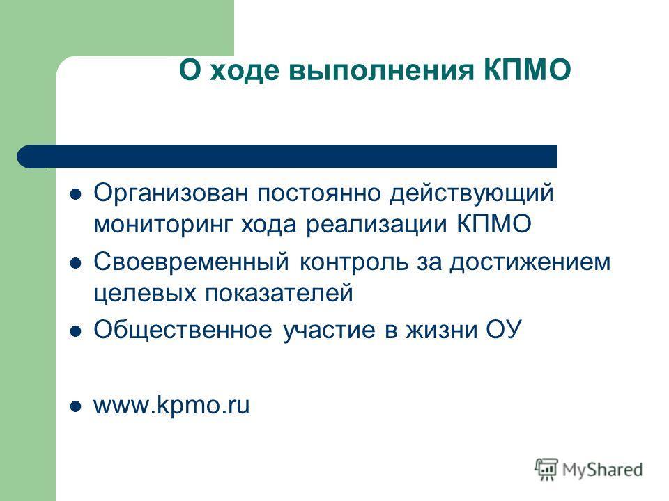 О ходе выполнения КПМО Организован постоянно действующий мониторинг хода реализации КПМО Своевременный контроль за достижением целевых показателей Общественное участие в жизни ОУ www.kpmo.ru