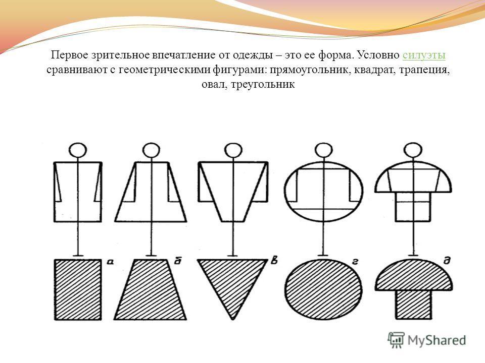 Первое зрительное впечатление от одежды – это ее форма. Условно силуэты сравнивают с геометрическими фигурами: прямоугольник, квадрат, трапеция, овал, треугольник силуэты