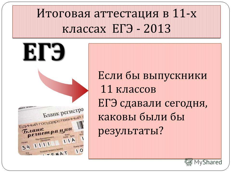 Итоговая аттестация в 11- х классах ЕГЭ - 2013 ЕГЭЕГЭ Если бы выпускники 11 классов ЕГЭ сдавали сегодня, каковы были бы результаты?