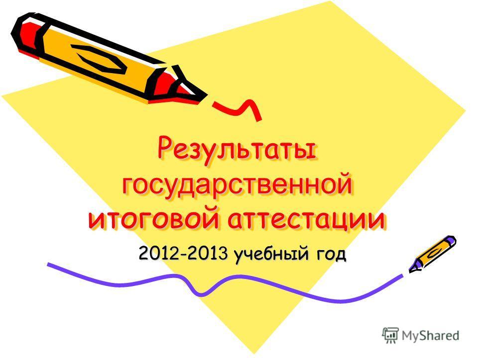 Результаты государственной итоговой аттестации 201 2 -201 3 учебный год