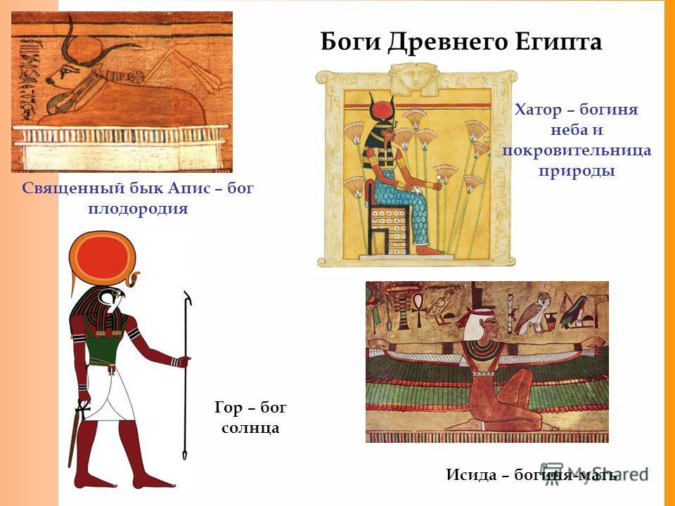 Боги Древнего Египта Священный бык Апис – бог плодородия Хатор – богиня неба и покровительница природы Гор – бог солнца Исида – богиня-мать