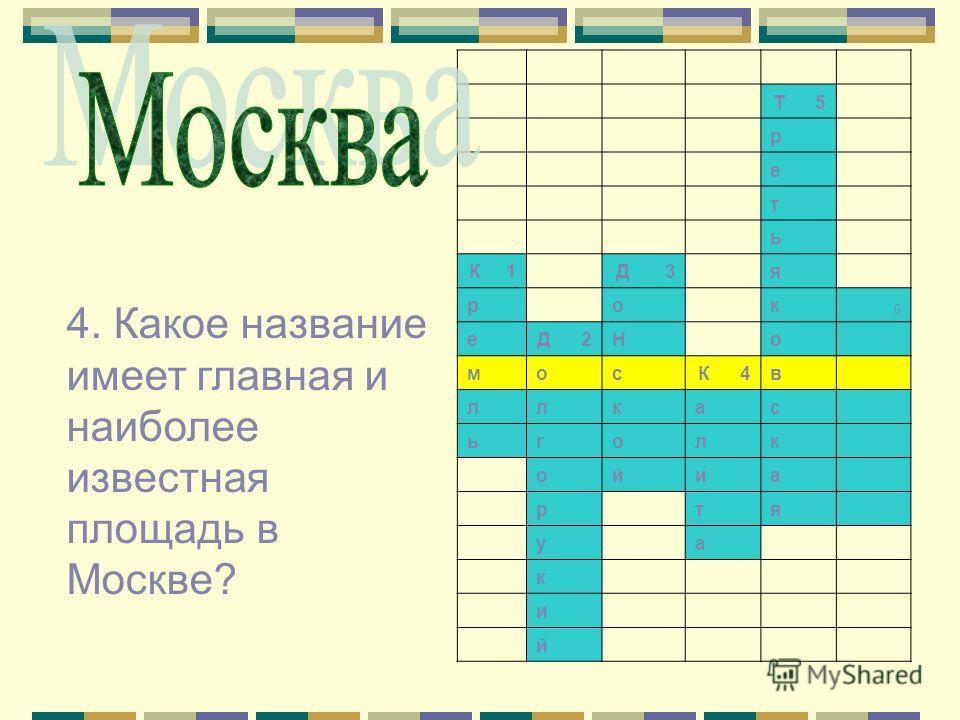 Т 5 р е т ь К 1 Д 3 я р о к 6 е Д 2Н о м о с К 4в л л к а с ь г о л к о й и а р т я у а к и й 4. Какое название имеет главная и наиболее известная площадь в Москве?