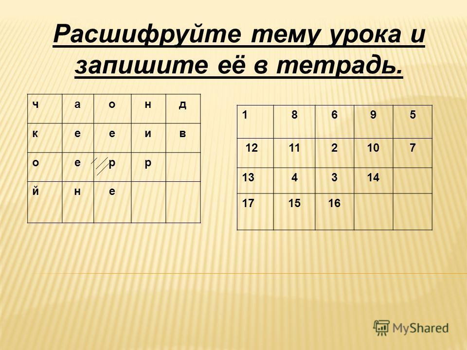 Расшифруйте тему урока и запишите её в тетрадь. чаонд кееив оерр йне 18695 12112107 134314 171516