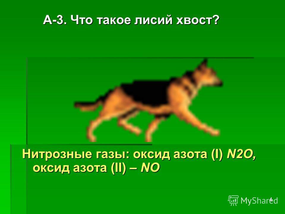 4 А-3. Что такое лисий хвост? А-3. Что такое лисий хвост? Нитрозные газы: оксид азота (I) N2О, оксид азота (II) – NО