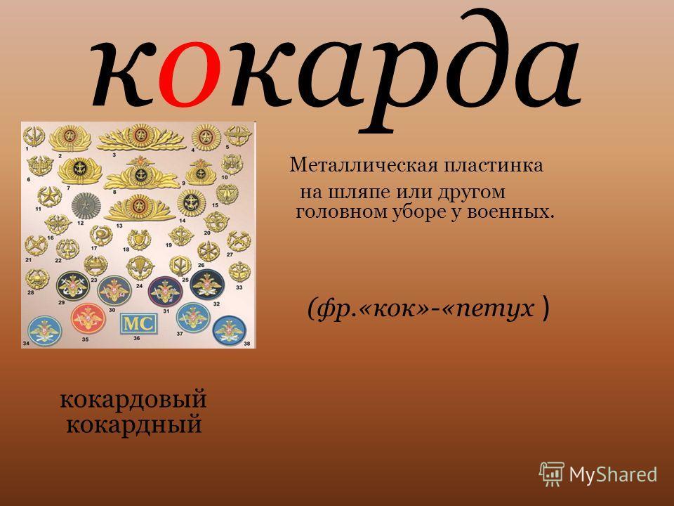кокарда Металлическая пластинка на шляпе или другом головном уборе у военных. кокардовый кокардный (фр.«кок»-«петух )