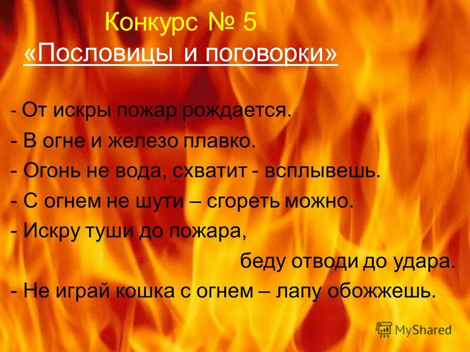 Конкурс 5 «Пословицы и поговорки» - От искры пожар рождается. - В огне и железо плавко. - Огонь не вода, схватит - всплывешь. - С огнем не шути – сгореть можно. - Искру туши до пожара, беду отводи до удара. - Не играй кошка с огнем – лапу обожжешь.