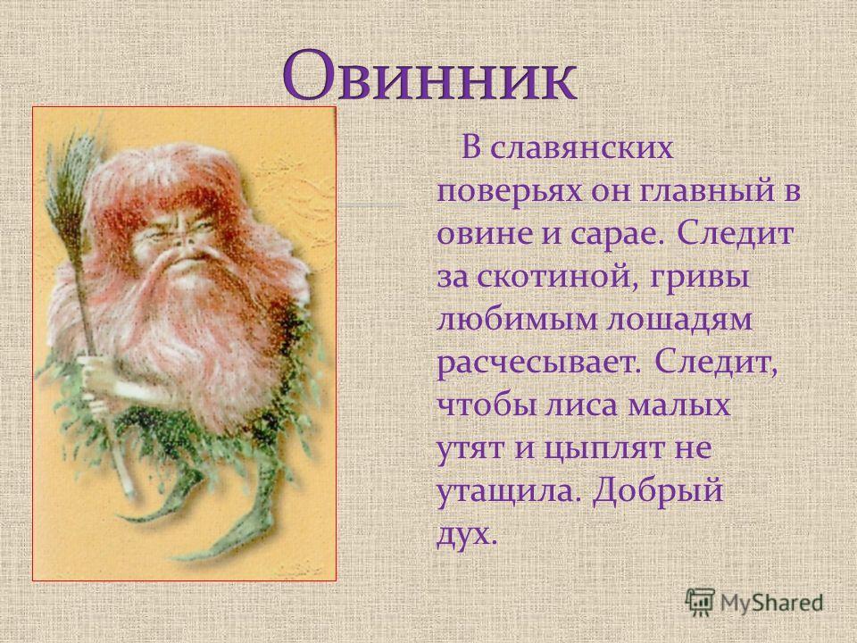 В славянских поверьях он главный в овине и сарае. Следит за скотиной, гривы любимым лошадям расчесывает. Следит, чтобы лиса малых утят и цыплят не утащила. Добрый дух.