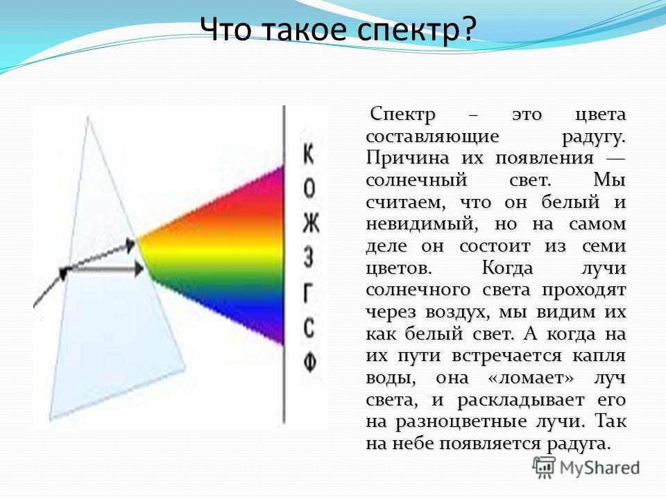 Что такое спектр? Спектр – это цвета составляющие радугу. Причина их появления солнечный свет. Мы считаем, что он белый и невидимый, но на самом деле он состоит из семи цветов. Когда лучи солнечного света проходят через воздух, мы видим их как белый