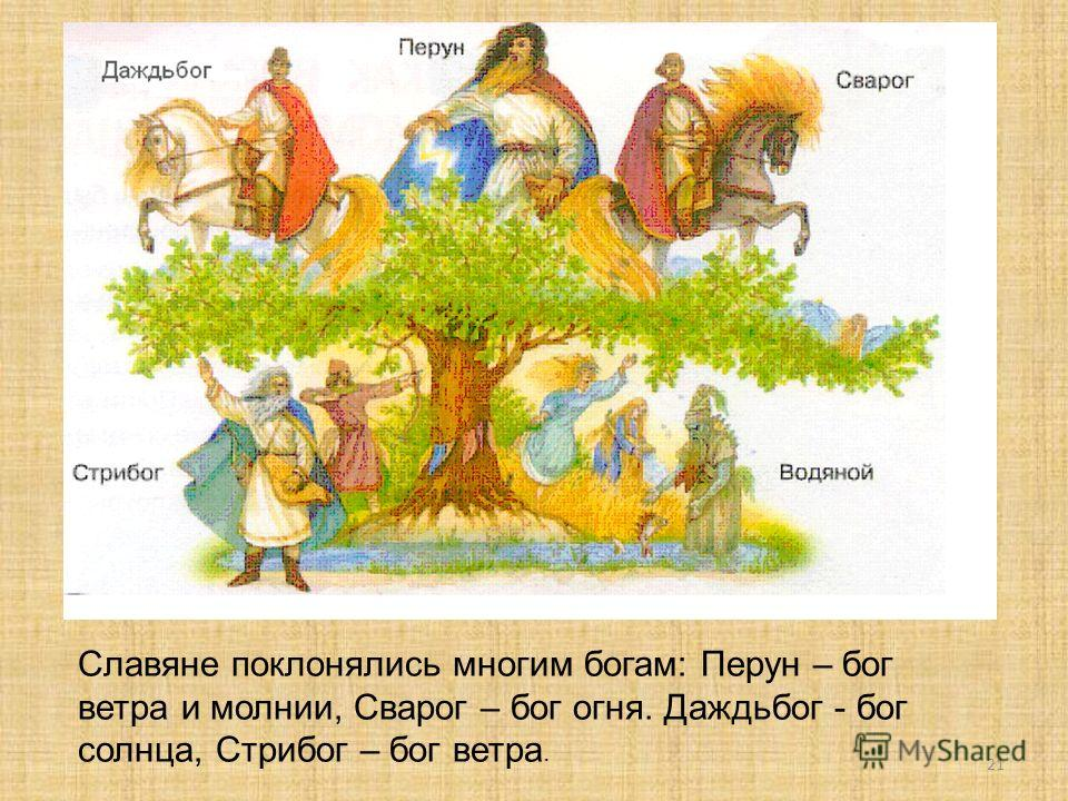 21 Славяне поклонялись многим богам: Перун – бог ветра и молнии, Сварог – бог огня. Даждьбог - бог солнца, Стрибог – бог ветра.