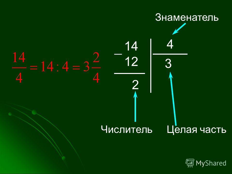 14 12 4 3 2 ЧислительЦелая часть Знаменатель