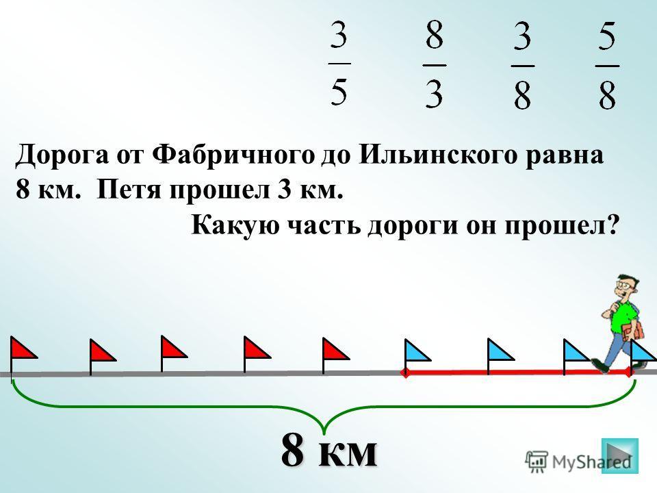 Дорога от Фабричного до Ильинского равна 8 км. Петя прошел 3 км. Какую часть дороги он прошел? 8 км