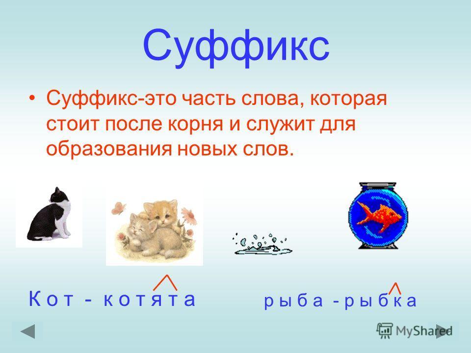 Суффикс Суффикс-это часть слова, которая стоит после корня и служит для образования новых слов. К о т - к о т я т а р ы б а - р ы б к а