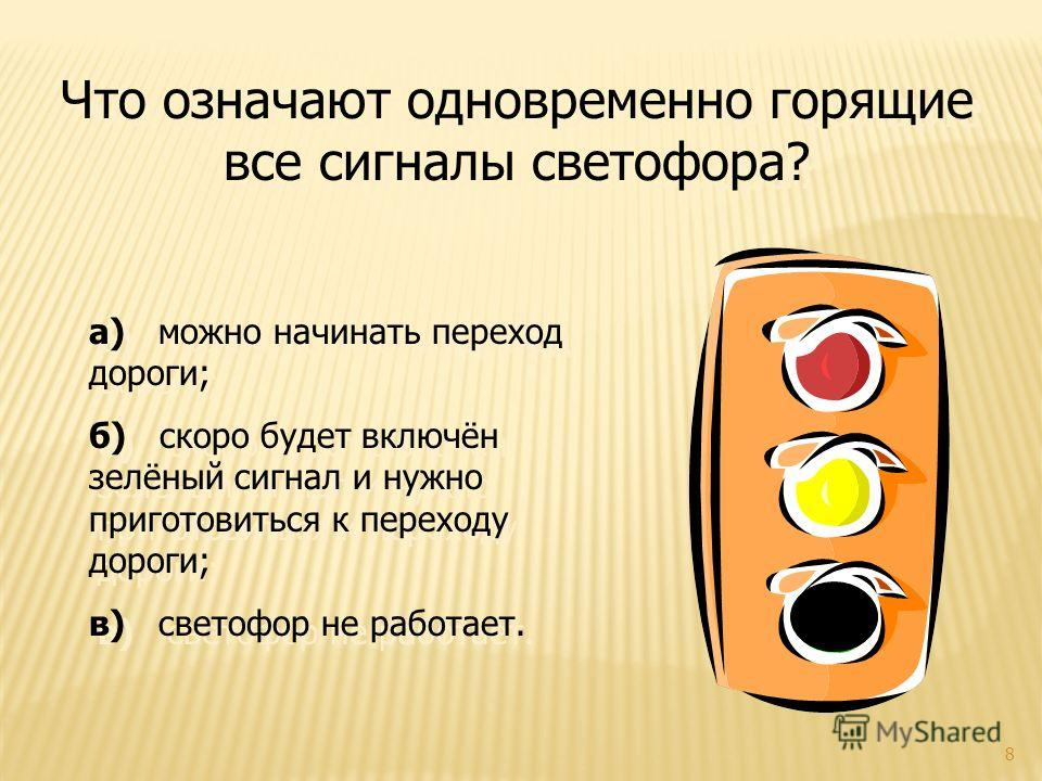 8 Что означают одновременно горящие все сигналы светофора? а) можно начинать переход дороги; б) скоро будет включён зелёный сигнал и нужно приготовиться к переходу дороги; в) светофор не работает. а) можно начинать переход дороги; б) скоро будет вклю