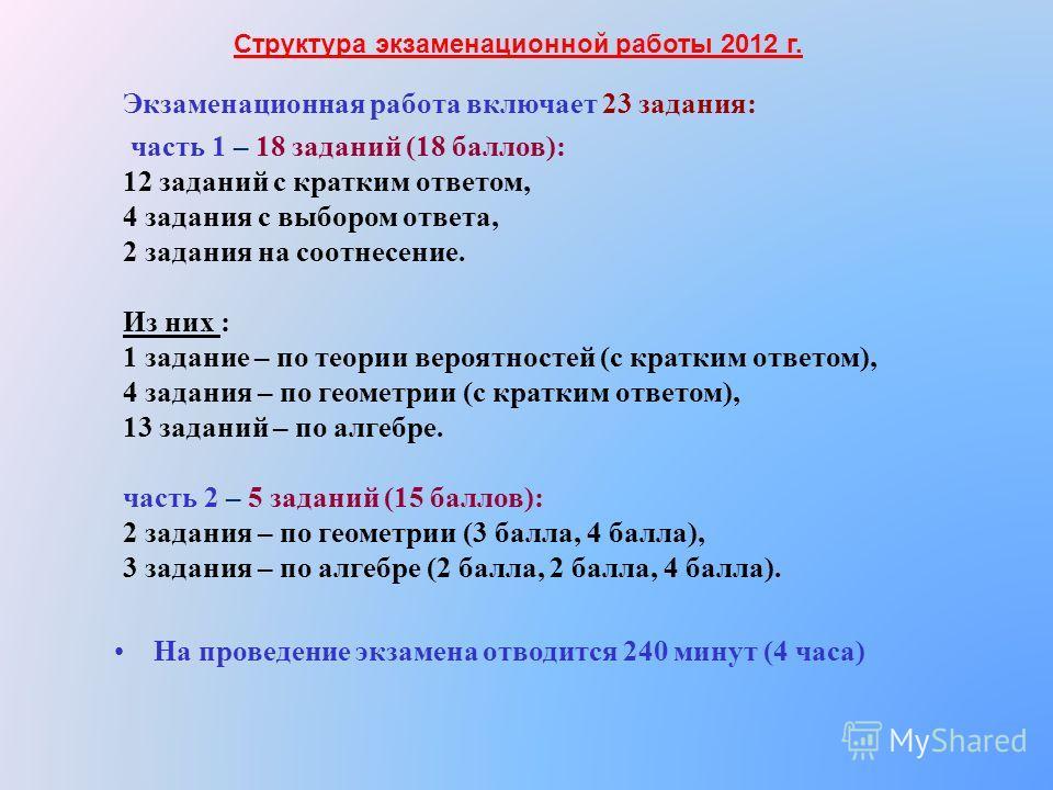Экзаменационная работа включает 23 задания: часть 1 – 18 заданий (18 баллов): 12 заданий с кратким ответом, 4 задания с выбором ответа, 2 задания на соотнесение. Из них : 1 задание – по теории вероятностей (с кратким ответом), 4 задания – по геометри