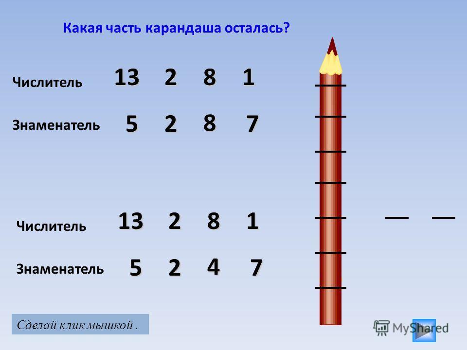Какая часть карандаша осталась? Числитель 21381 Знаменатель 527 8 Числитель 11382 Знаменатель 527 4 Сделай клик мышкой.