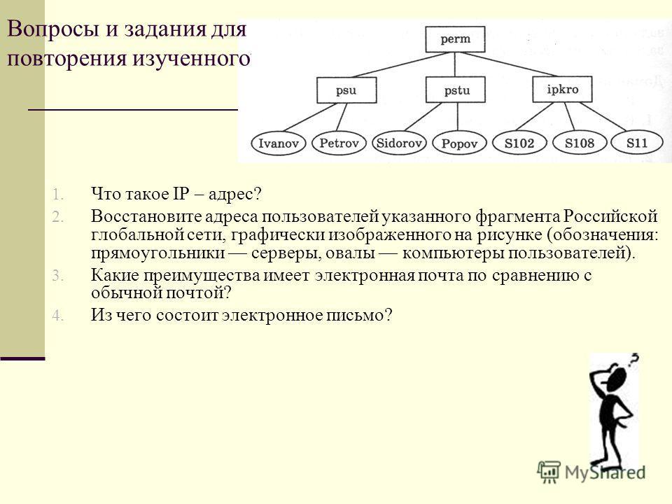 1. Что такое IP – адрес? 2. Восстановите адреса пользователей указанного фрагмента Российской глобальной сети, графически изображенного на рисунке (обозначения: прямоугольники серверы, овалы компьютеры пользователей). 3. Какие преимущества имеет элек