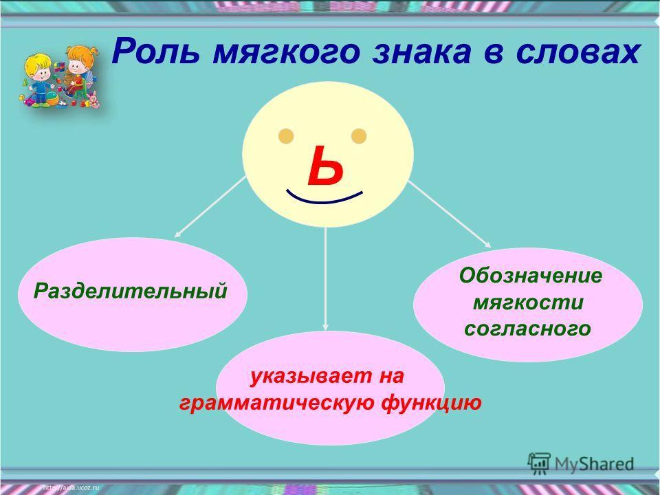 Ь Разделительный Обозначение мягкости согласного указывает на грамматическую функцию Роль мягкого знака в словах