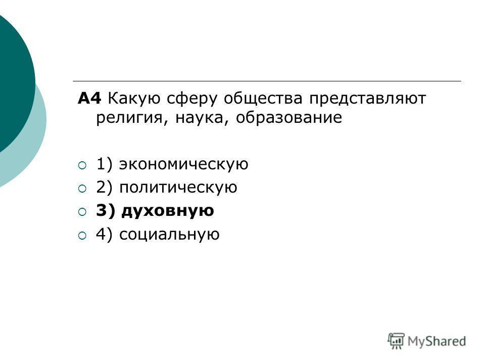 A4 Какую сферу общества представляют религия, наука, образование 1) экономическую 2) политическую 3) духовную 4) социальную