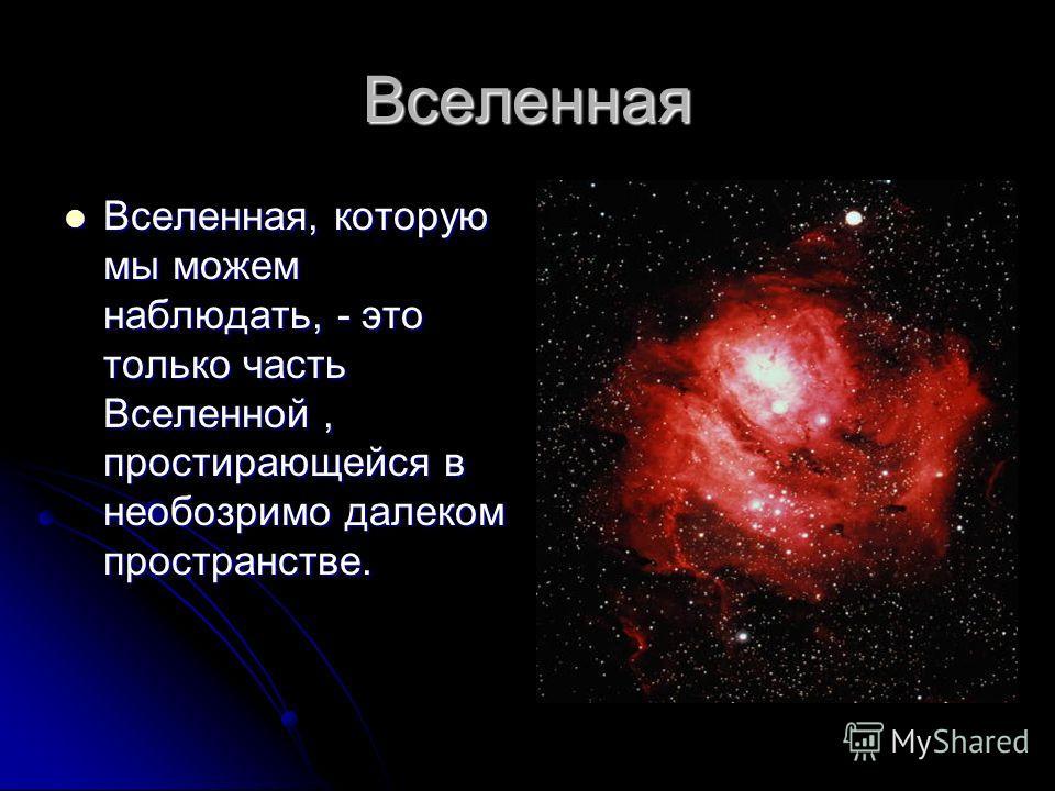Вселенная Вселенная, которую мы можем наблюдать, - это только часть Вселенной, простирающейся в необозримо далеком пространстве. Вселенная, которую мы можем наблюдать, - это только часть Вселенной, простирающейся в необозримо далеком пространстве.