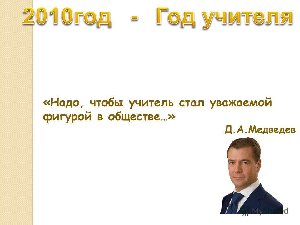 «Надо, чтобы учитель стал уважаемой фигурой в обществе…» Д.А.Медведев