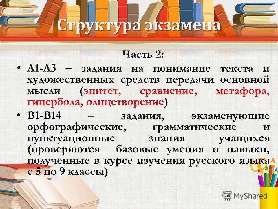 Структура экзамена Часть 2: А1-А3 – задания на понимание текста и художественных средств передачи основной мысли (эпитет, сравнение, метафора, гипербола, олицетворение) В1-В14 – задания, экзаменующие орфографические, грамматические и пунктуационные з