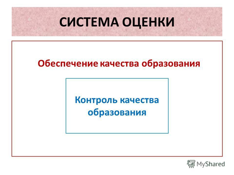 СИСТЕМА ОЦЕНКИ Обеспечение качества образования Контроль качества образования