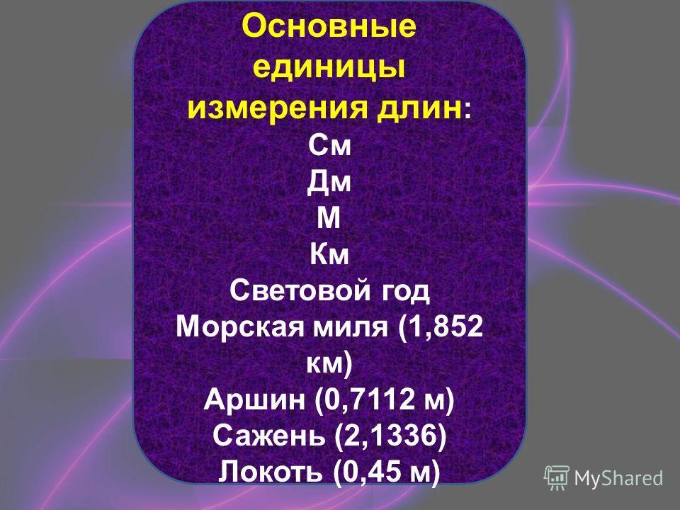 Основные единицы измерения длин : См Дм М Км Световой год Морская миля (1,852 км) Аршин (0,7112 м) Сажень (2,1336) Локоть (0,45 м) …