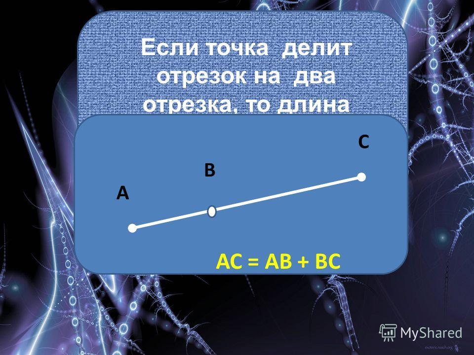 Если точка делит отрезок на два отрезка, то длина всего отрезка равна сумме длин этих двух отрезков. А В С АС = АВ + ВС