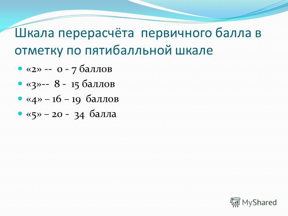 Шкала перерасчёта первичного балла в отметку по пятибалльной шкале «2» -- 0 - 7 баллов «3»-- 8 - 15 баллов «4» – 16 – 19 баллов «5» – 20 - 34 балла