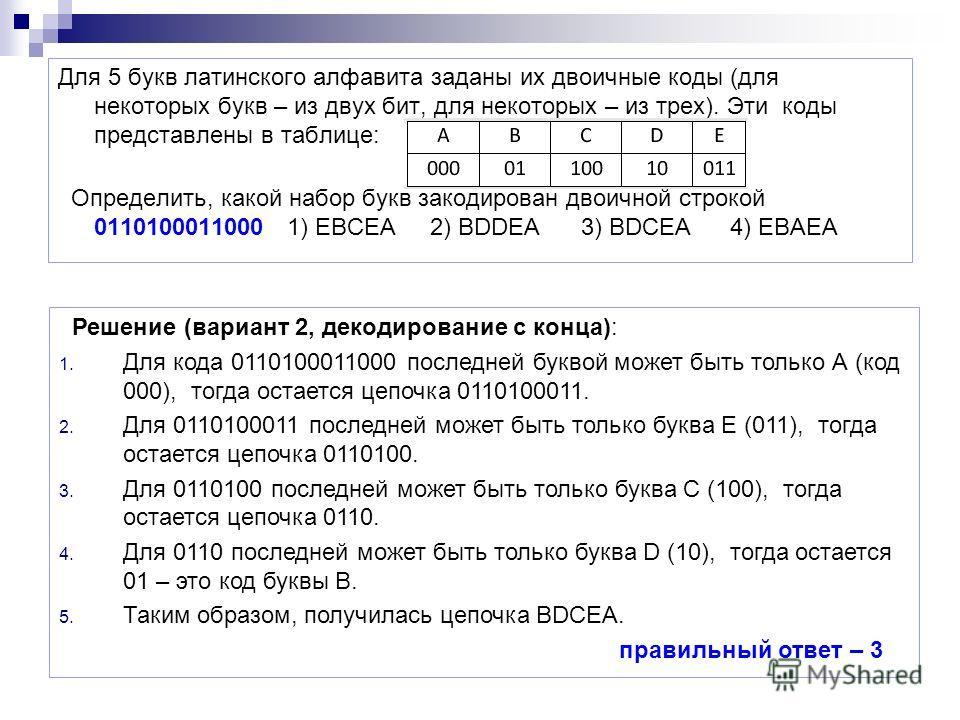 Для 5 букв латинского алфавита заданы их двоичные коды (для некоторых букв – из двух бит, для некоторых – из трех). Эти коды представлены в таблице: Определить, какой набор букв закодирован двоичной строкой 0110100011000 1) EBCEA 2) BDDEA 3) BDCEA 4)