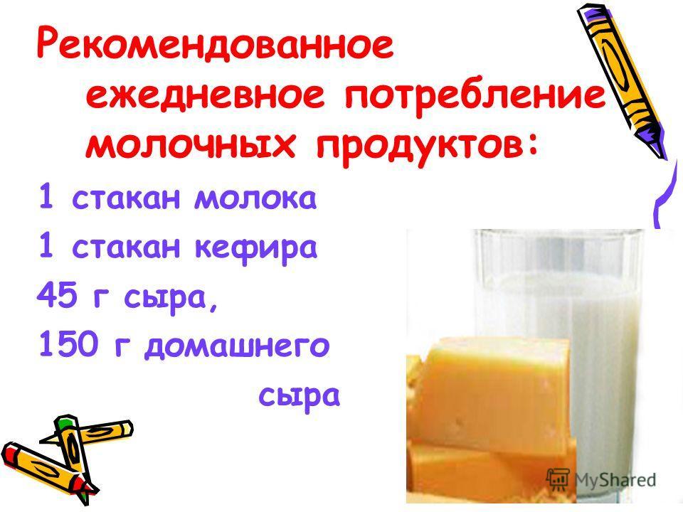 Рекомендованное ежедневное потребление молочных продуктов: 1 стакан молока 1 стакан кефира 45 г сыра, 150 г домашнего сыра